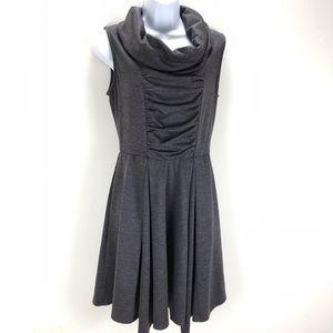 Modcloth Gray Cowl Neck Skater Sweatshirt Dress